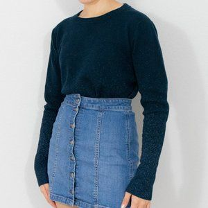 A New Day Navy Blue Sparkle Small Knit Sweater